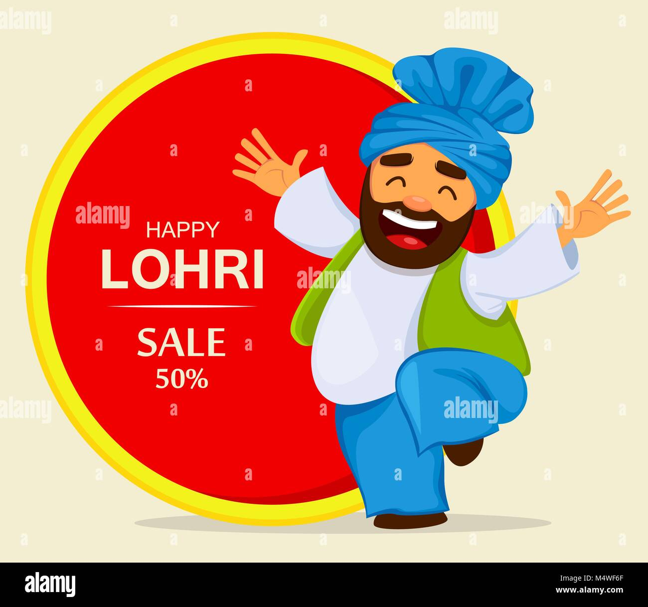 Popular winter Punjabi folk festival Lohri. Funny dancing Sikh man, cartoon character for sale, banner, poster. - Stock Vector