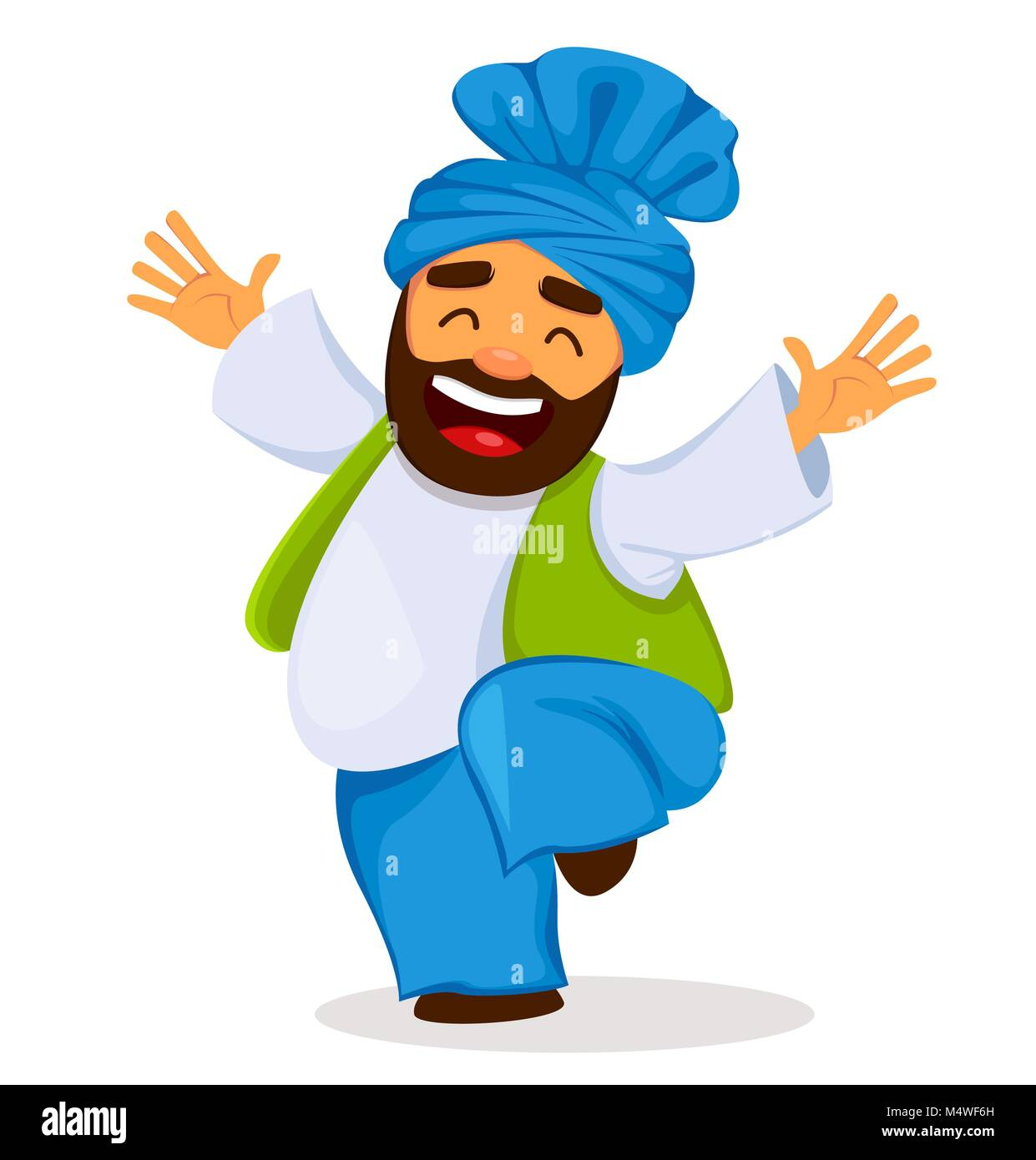 Popular winter Punjabi folk festival Lohri. Funny dancing Sikh man, cartoon character. Vector illustration on white - Stock Vector