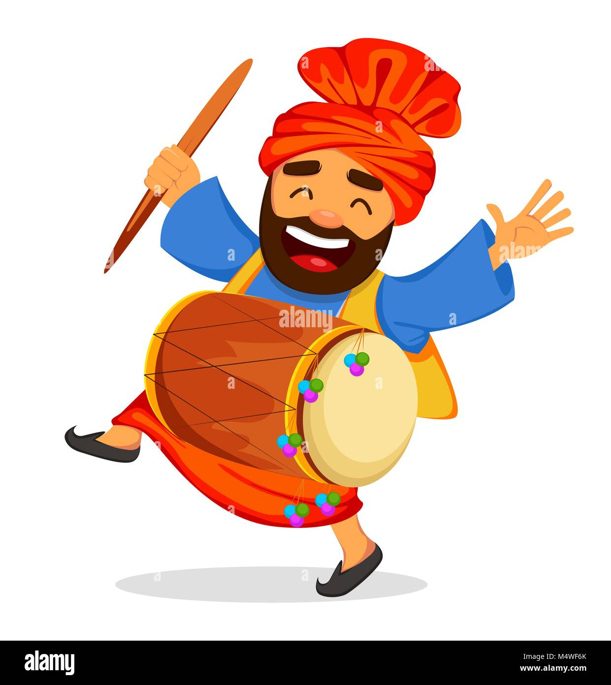 Popular winter Punjabi folk festival Lohri. Funny dancing Sikh man with drum, cartoon character. Vector illustration - Stock Vector
