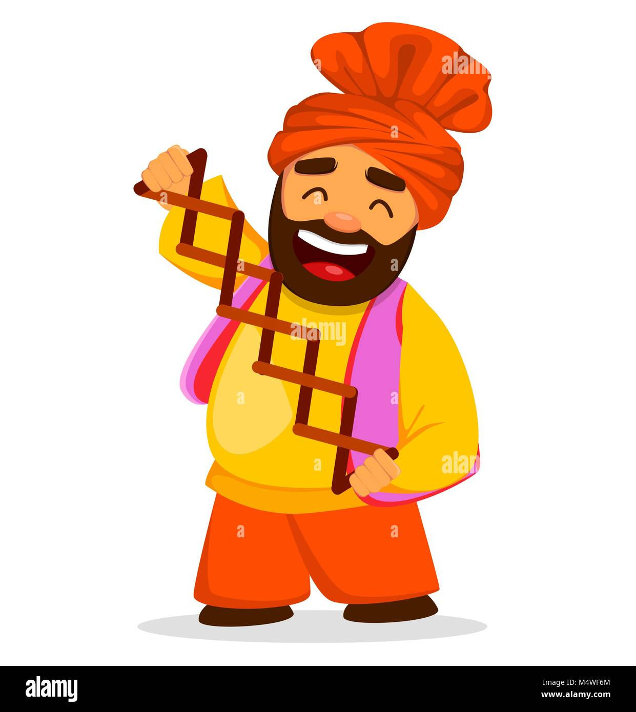 Popular winter Punjabi folk festival Lohri. Funny Sikh man, cartoon character. Vector illustration on white background - Stock Vector
