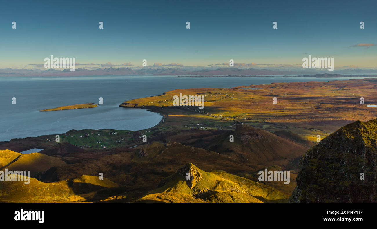 The Quiraing and Staffin, looking over towards Torridon - Stock Image