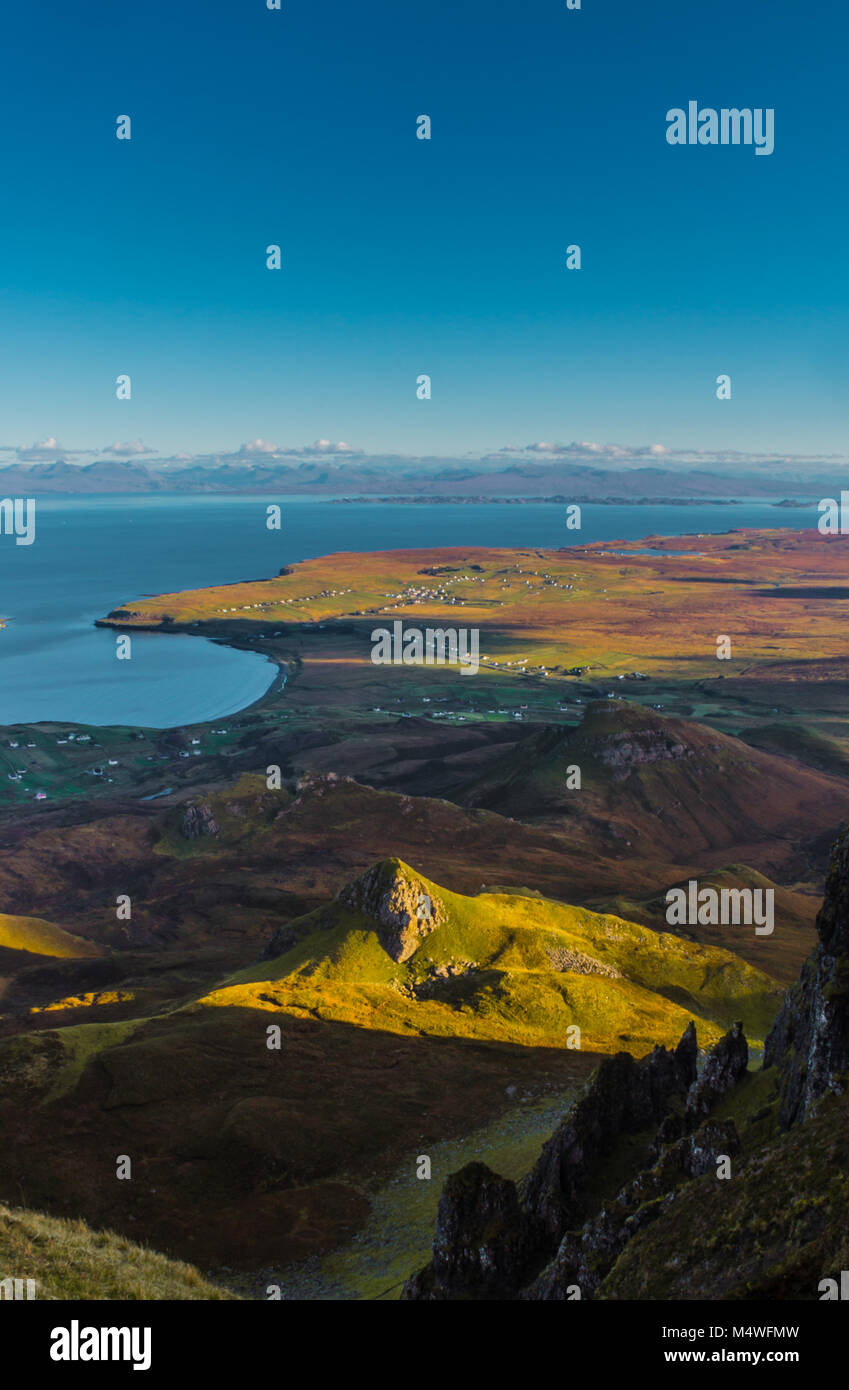 The Quiraing looking out over Staffin towards Torridon. - Stock Image