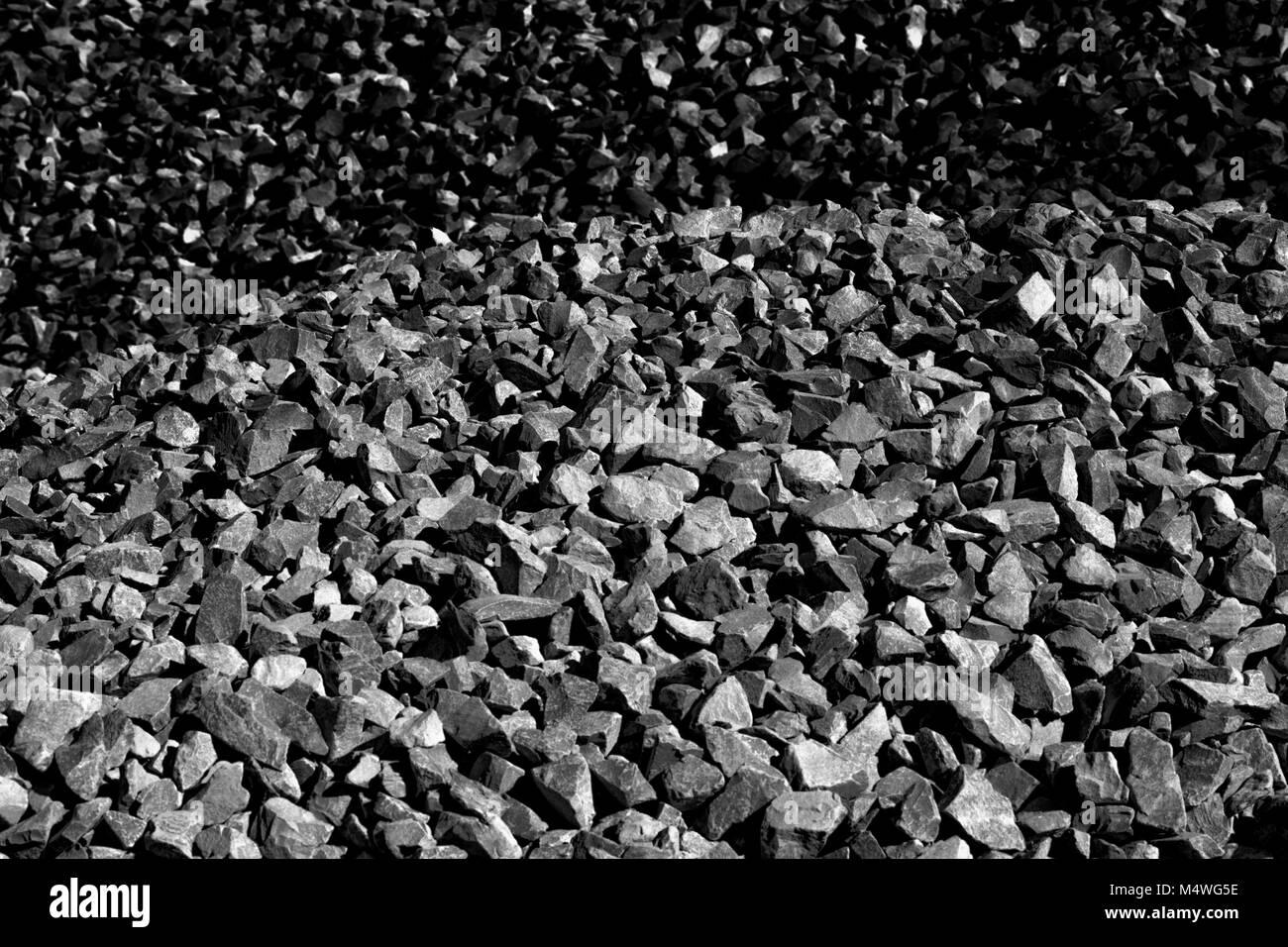 Crushed stone, open cast mining - Stock Image