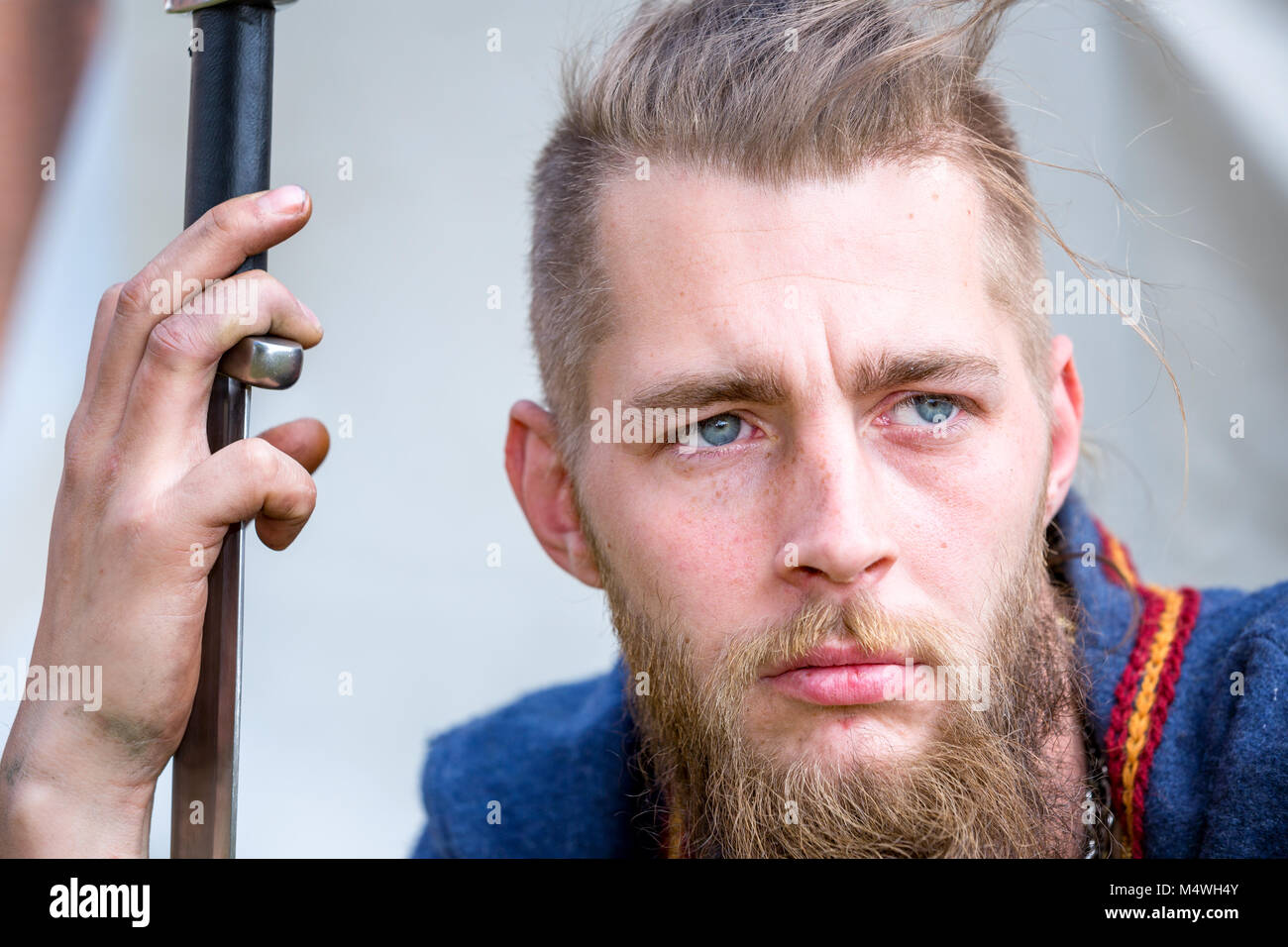 A close-up of a man dressed like a viking, Denmark - Stock Image