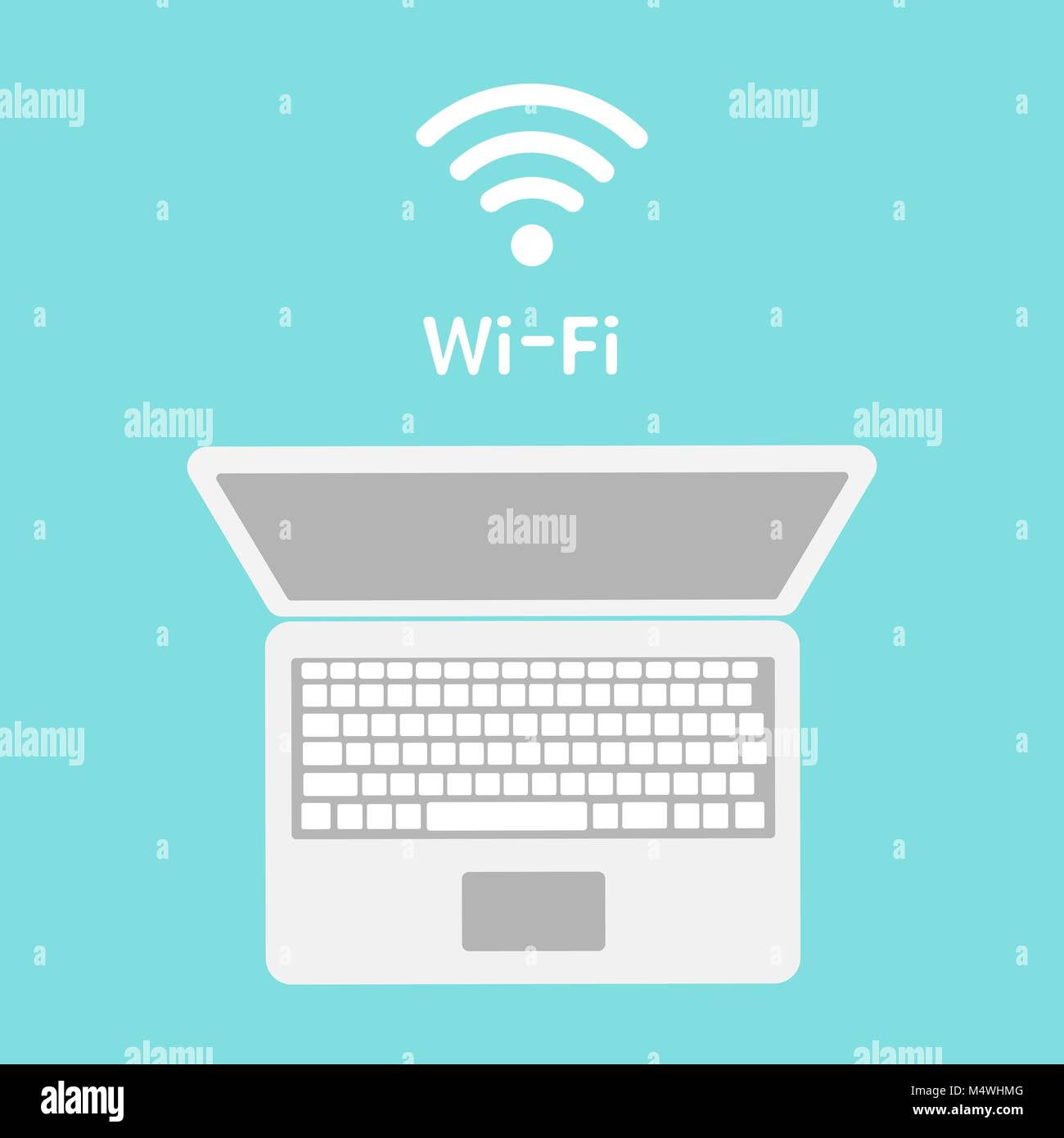 Wi-Fi icon on laptop screen. Wireless technology, wifi connection, wireless network, hotspot concepts. Modern flat - Stock Image