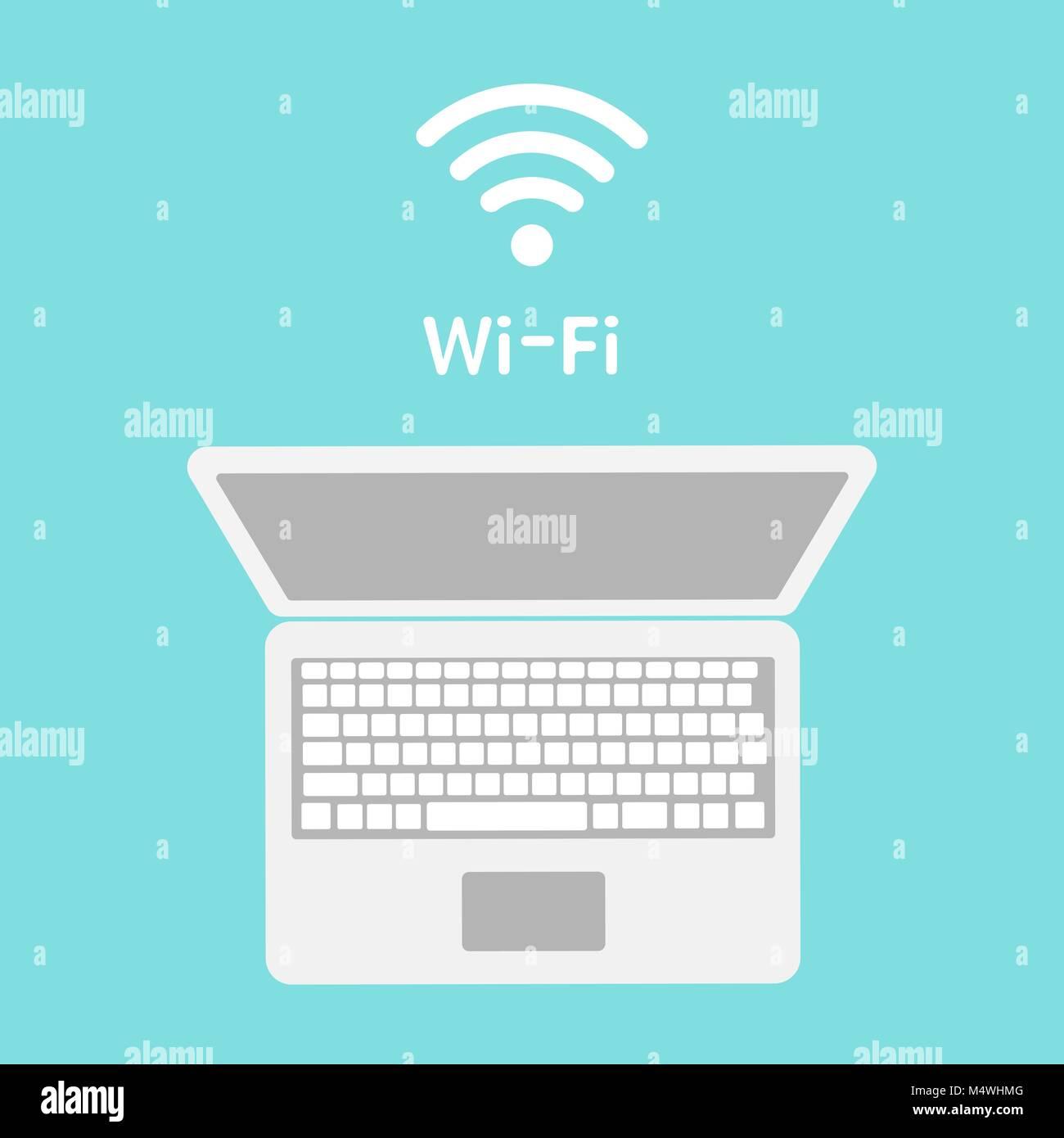 Wi-Fi icon on laptop screen  Wireless technology, wifi
