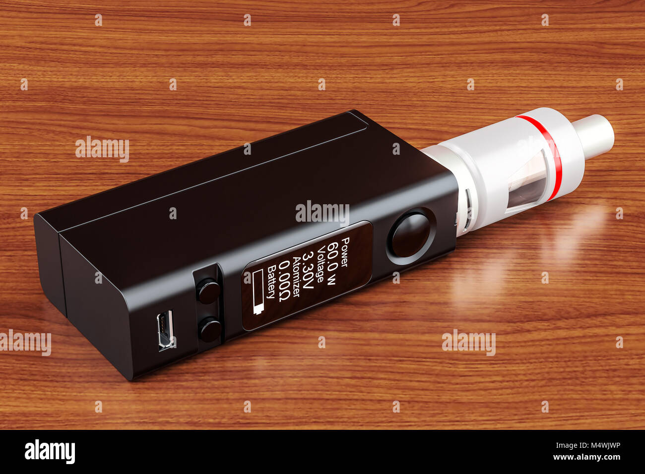 Box Mod e-cigarette, 3D rendering on the wooden table. 3D rendering - Stock Image