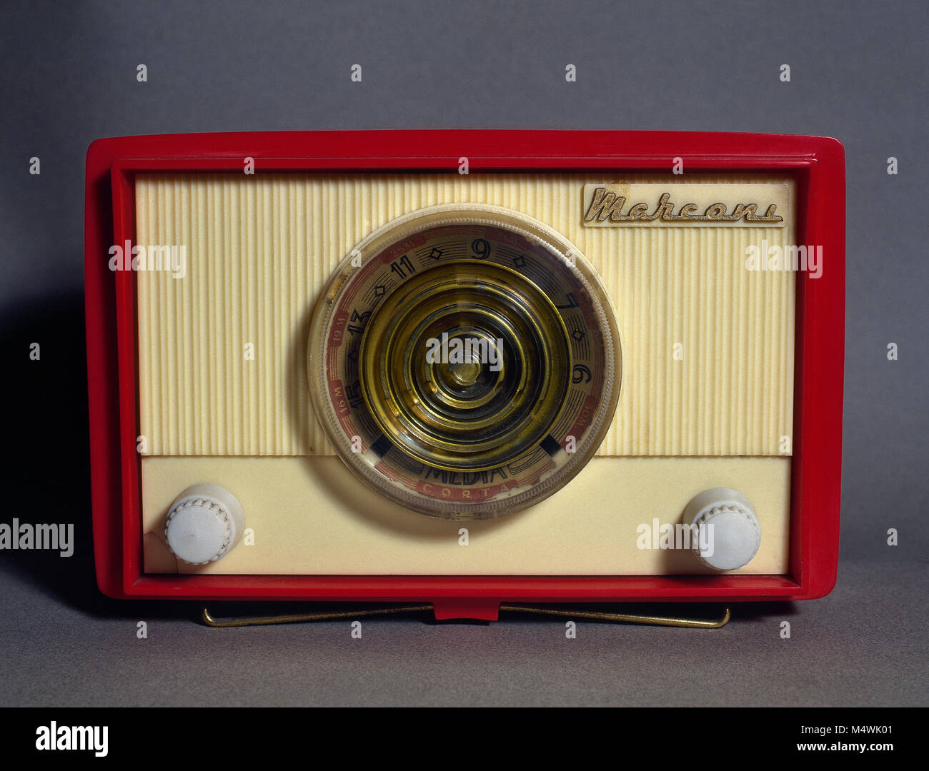Old radio receiver, Marconi brand. - Stock Image