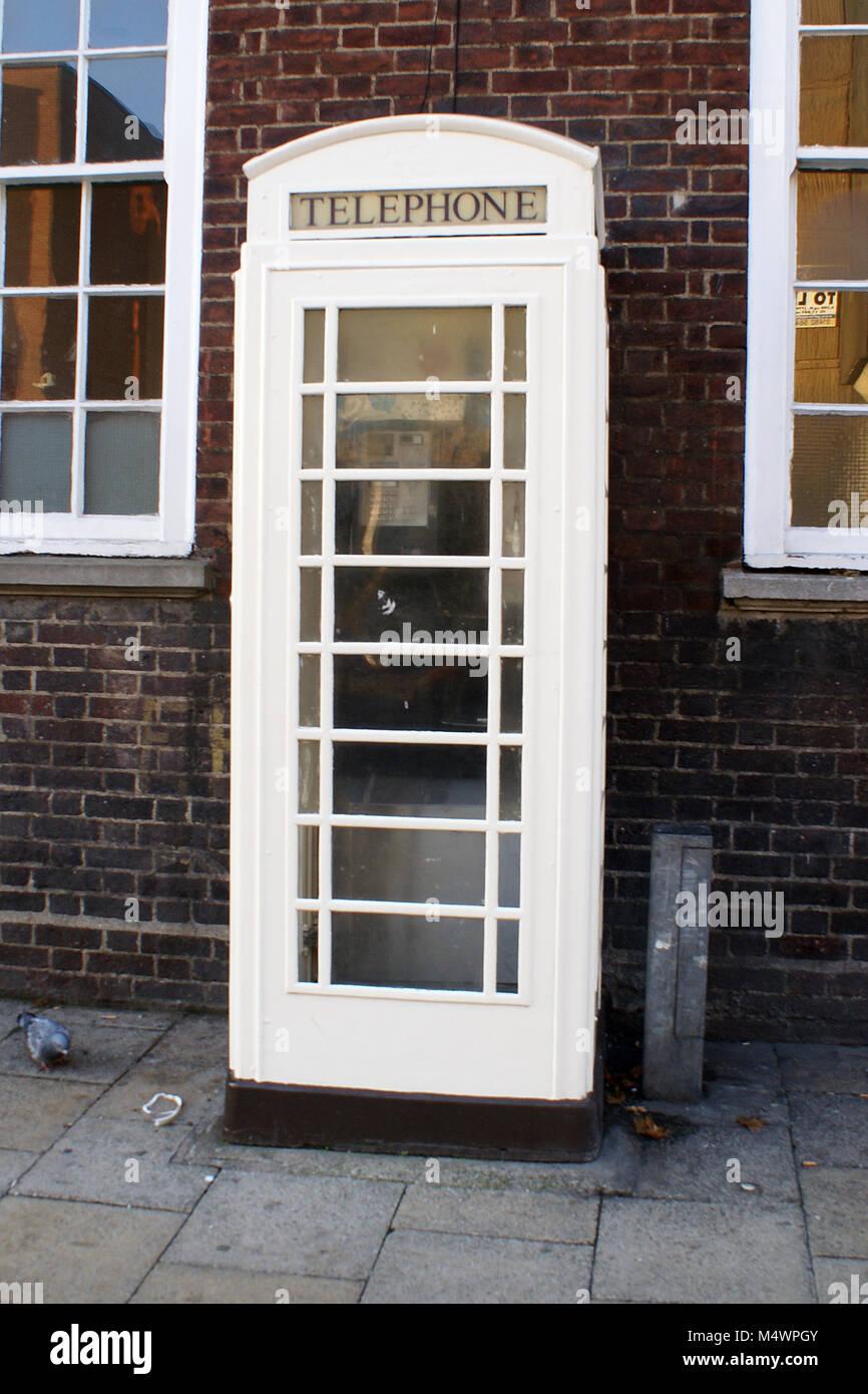 white kingston communications Telephone kiosk, market place, Kingston Upon Hull, KC - Stock Image
