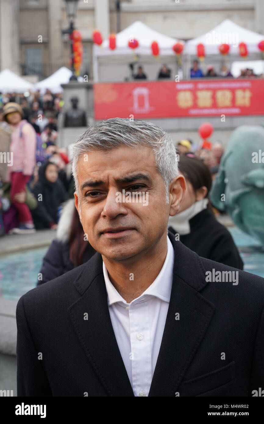 London Mayor Sadiq Khan being interviewed during Chinese New Year Celebrations (the year of the dog) in Trafalgar - Stock Image