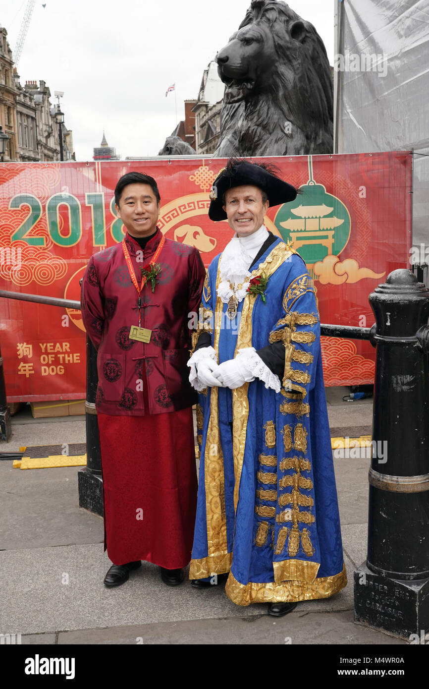 Lord Mayor of London attends Chinese New Year Celebrations (the year of the dog) in Trafalgar Square in London. - Stock Image
