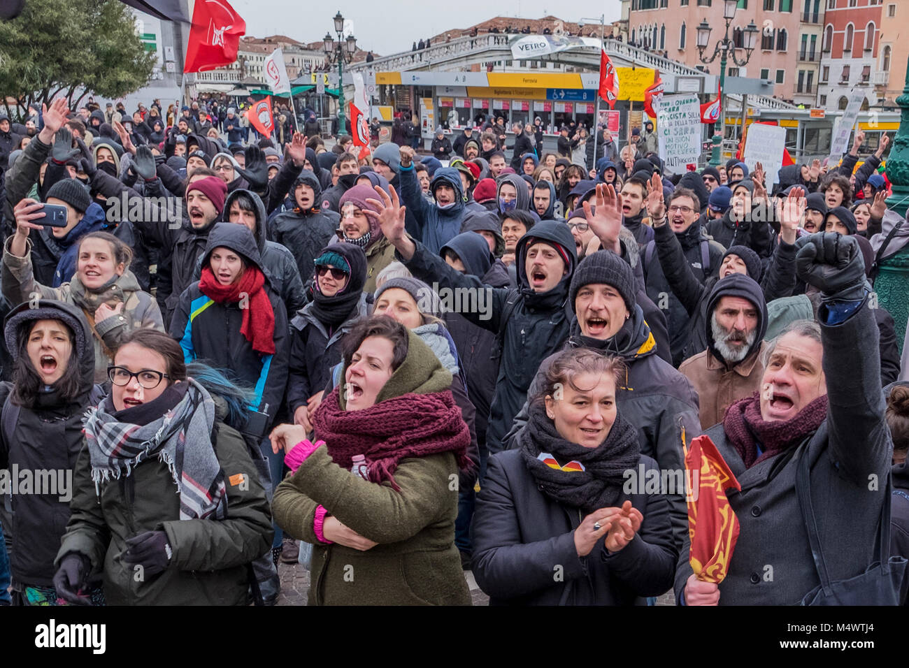 Venice, ITALY. 18 February, 2018. The Centri Sociali protest in Venice, near the train station, against an event - Stock Image