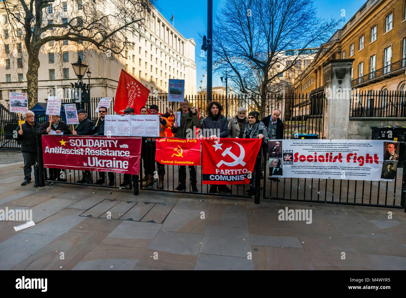 February 17, 2018 - London, UK. 17th February 2018. Campaigners at Downing St condemn the delivery of $350 millon Stock Photo