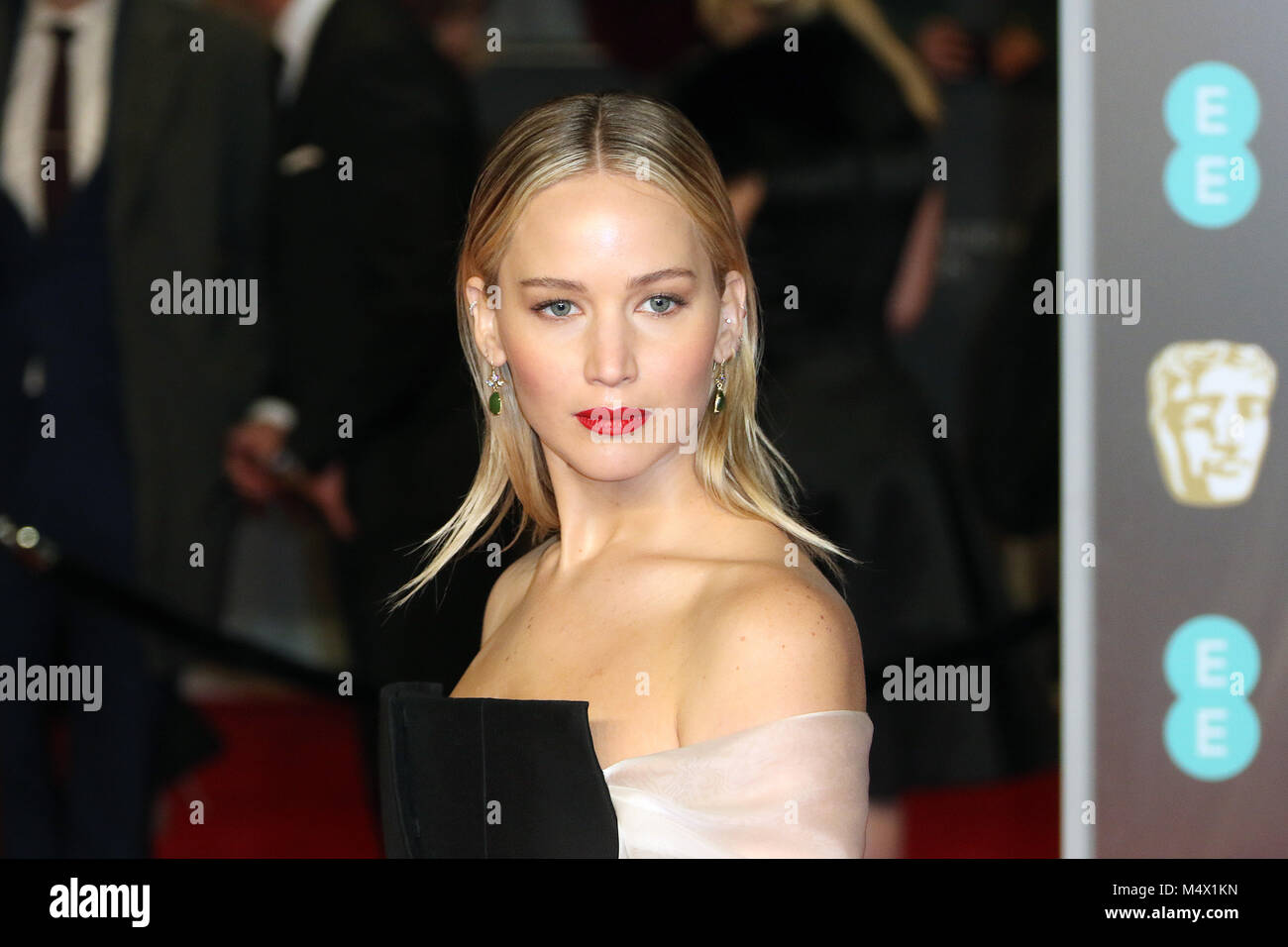 London, UK. 18th Feb, 2018. Jennifer Lawrence, EE British Academy Film Awards (BAFTAs) - Royal Albert Hall, London - Stock Image