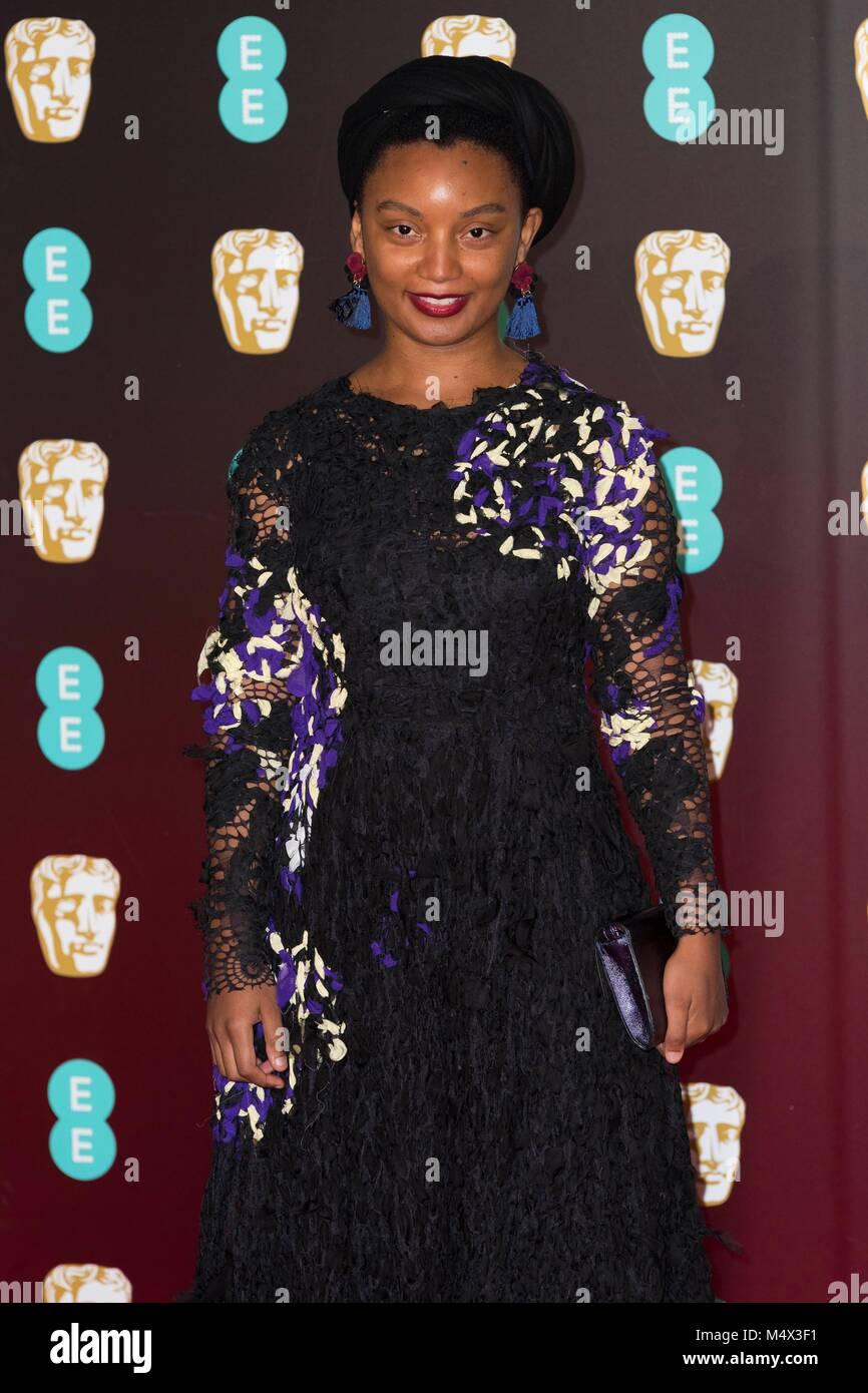 London, UK. 18th Feb, 2018. 'Rungano Nyoni attends EE British Academy Film Awards 2018 at the Royal Albert Hall Stock Photo