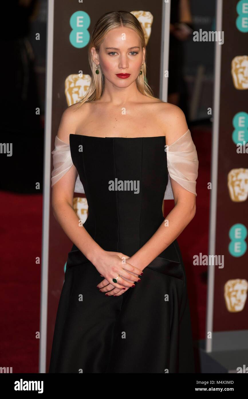 London, UK. 18th Feb, 2018. 'Jennifer Lawrence attends EE British Academy Film Awards 2018 at the Royal Albert Hall - Stock Image