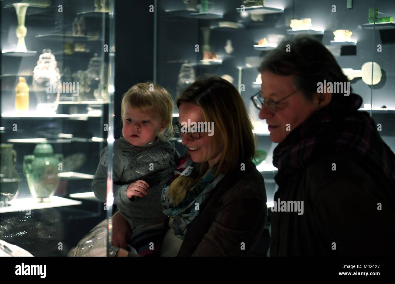 San Francisco, USA. 18th Feb, 2018. People visit a jade crafts exhibition at Asian Art Museum in San Francisco, - Stock Image