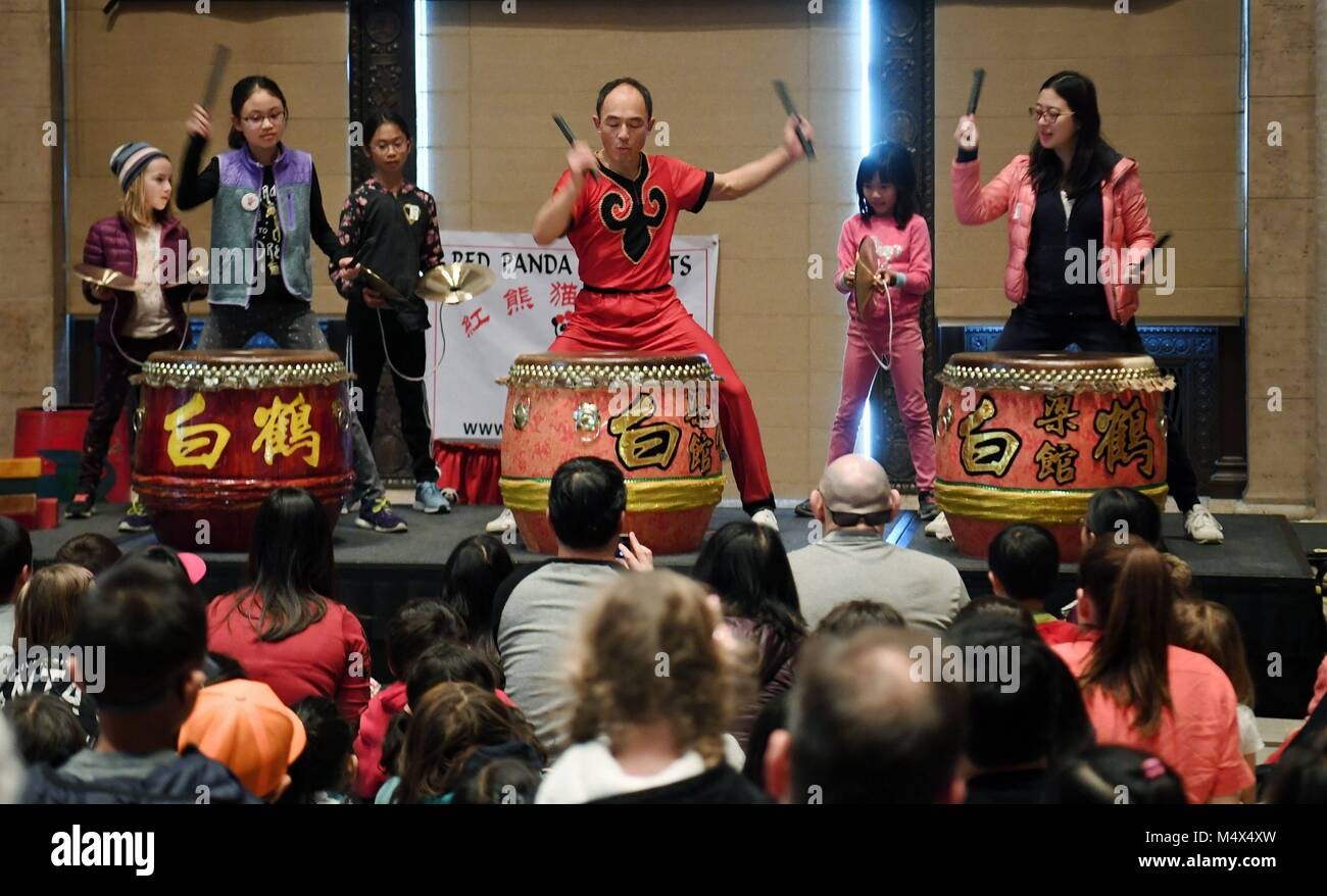 San Francisco, USA. 18th Feb, 2018. People learn to play drum on the stage at Asian Art Museum in San Francisco, - Stock Image