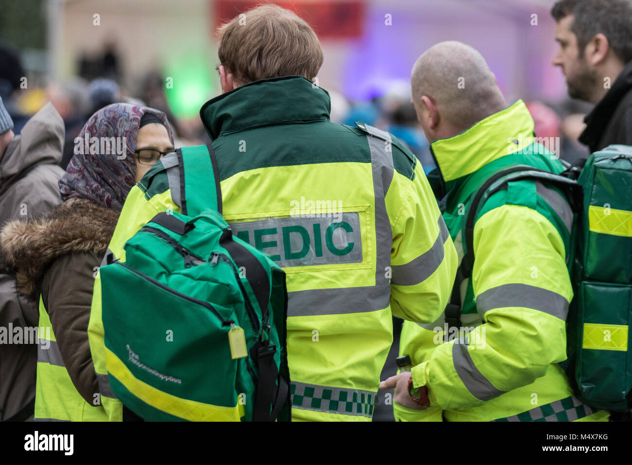 A ambulance medic paramedic emergency urgent healthcare first aid cpr response medical ambulances siren sirens ems - Stock Image
