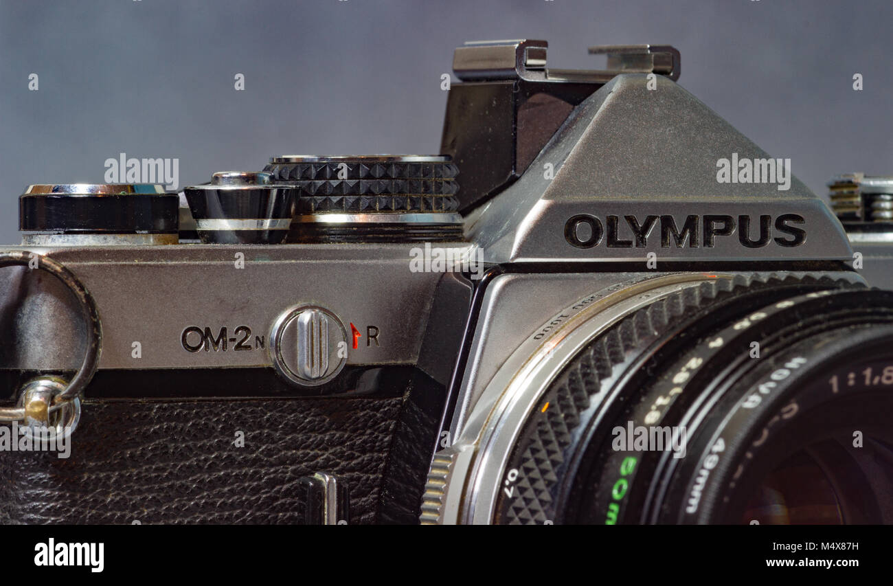 Vintage Olympus 35mm film camera - Stock Image