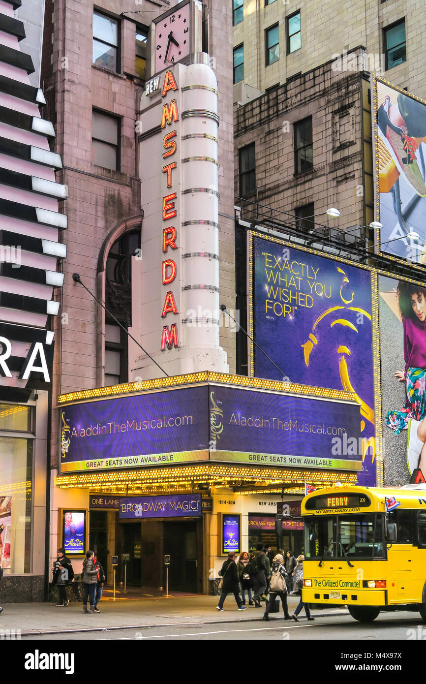 New Amsterdam Theater Marquee on West 42nd Street, NYC, USA - Stock Image