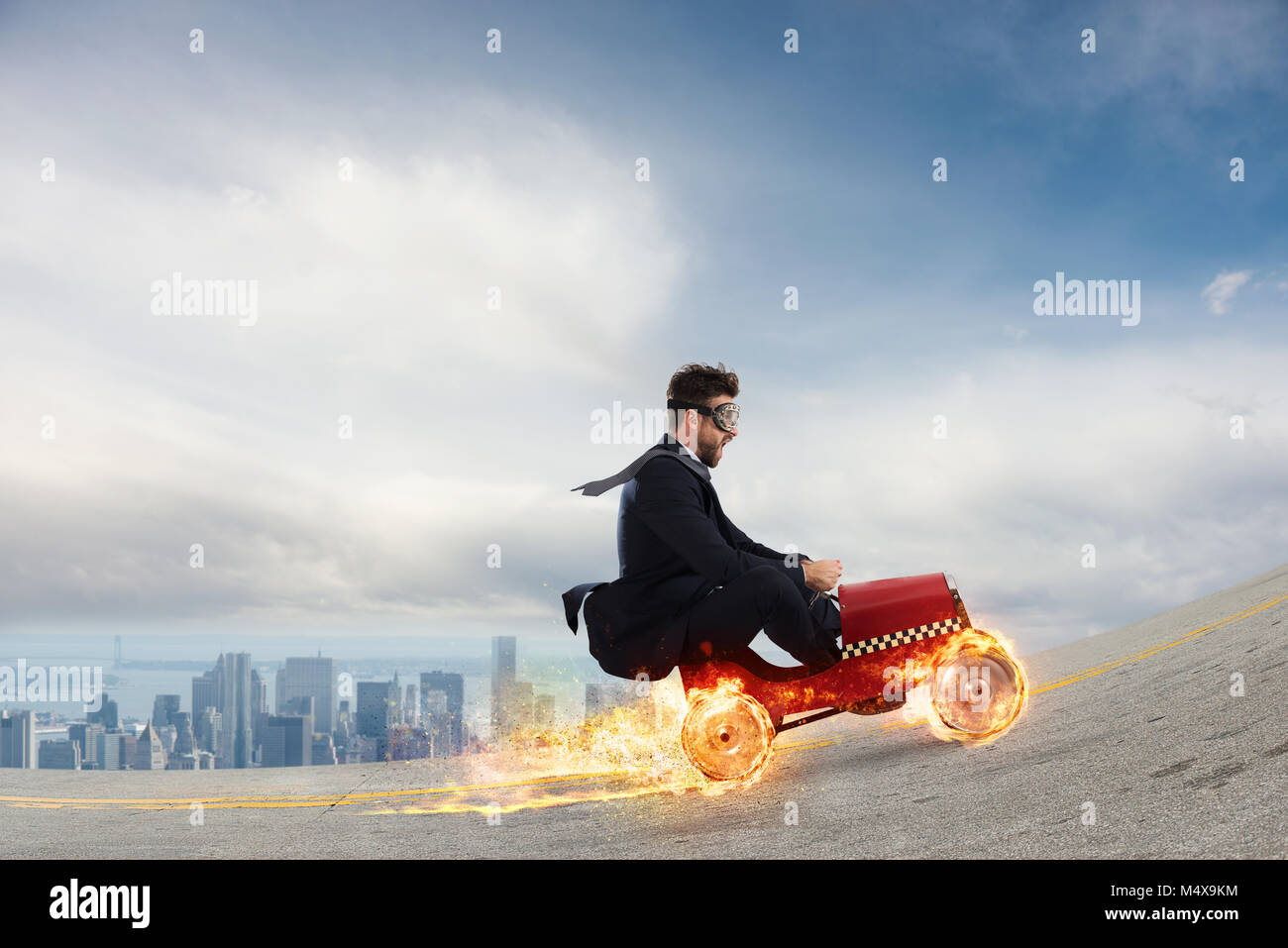 Fast businessman with a car wins against the competitors. Concept of success and competition - Stock Image
