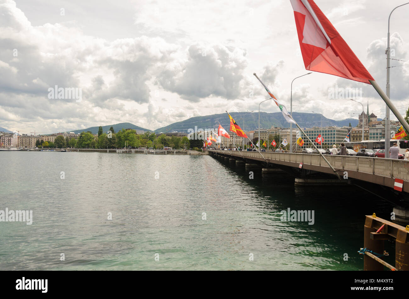 3e06eb82b Switzerland flags and Geneva Coat of Arms flags on Pont du Mont ...