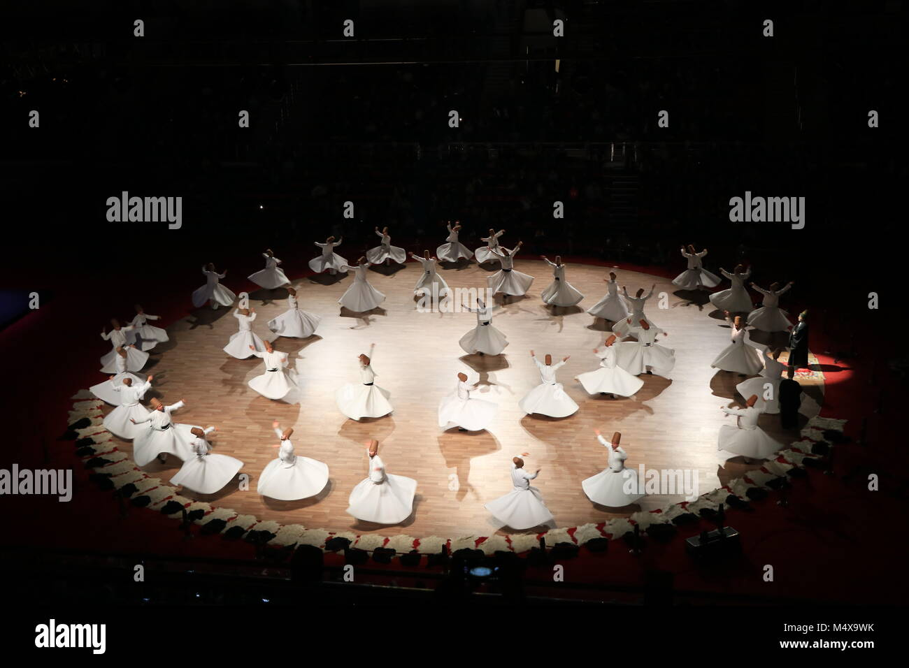 Whirling derwishes at 17 December 2018 Seb-i Arus in Konya, Turkey - Stock Image
