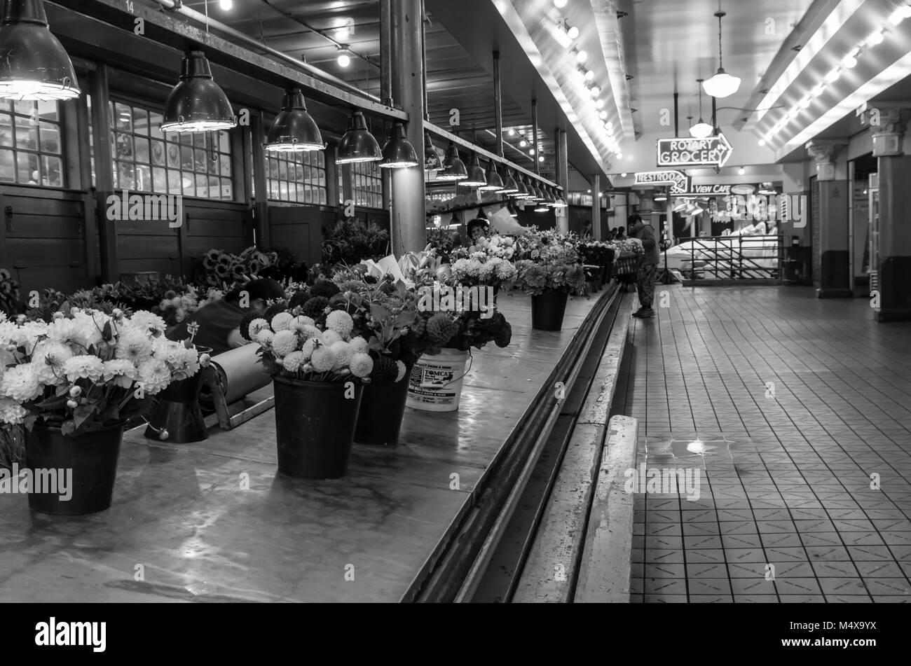 Empty flower seller stalls at Pike Place Market Seattle, Washington, USA - Stock Image
