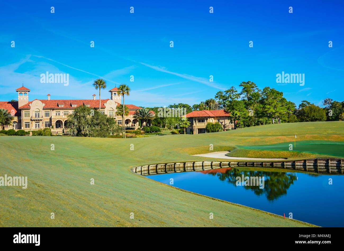 Next to the famous golf course, the The Players Championship Sawgrass Clubhouse is a posh luxury resort. - Stock Image