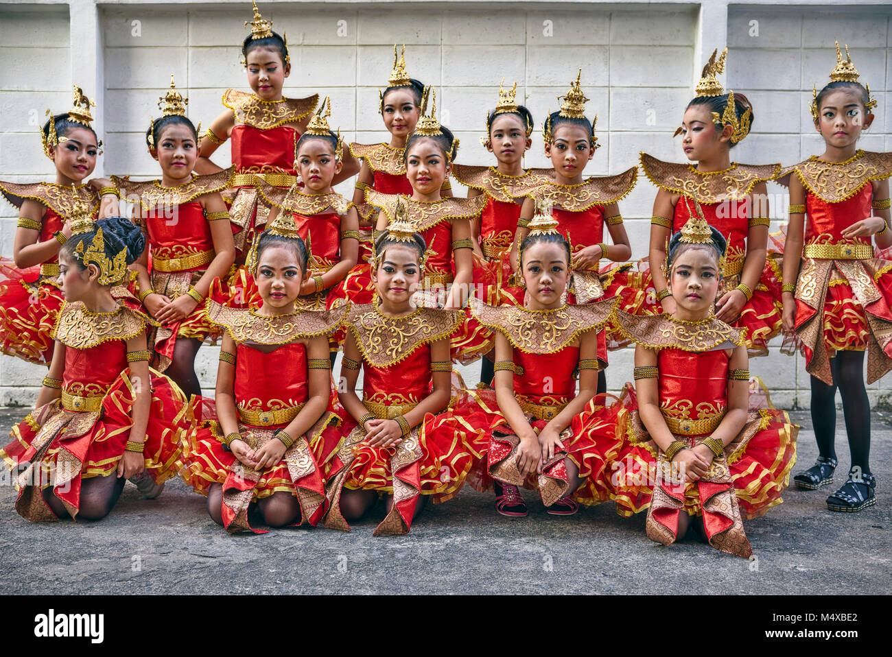 e574348d2 Group of young Thai dancers. Thailand dancing girls. Southeast Asia - Stock  Image