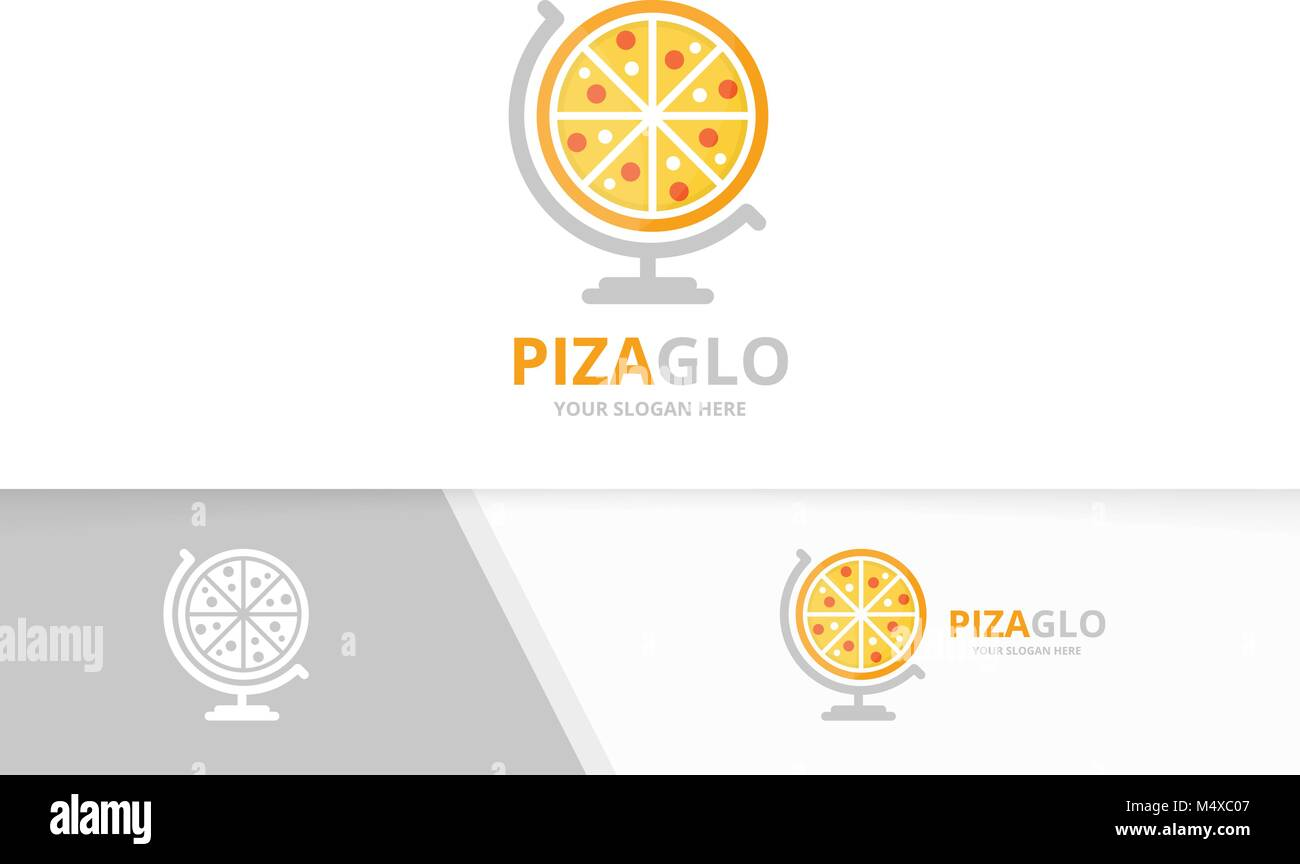 vector pizza and globe logo combination food planet symbol or icon