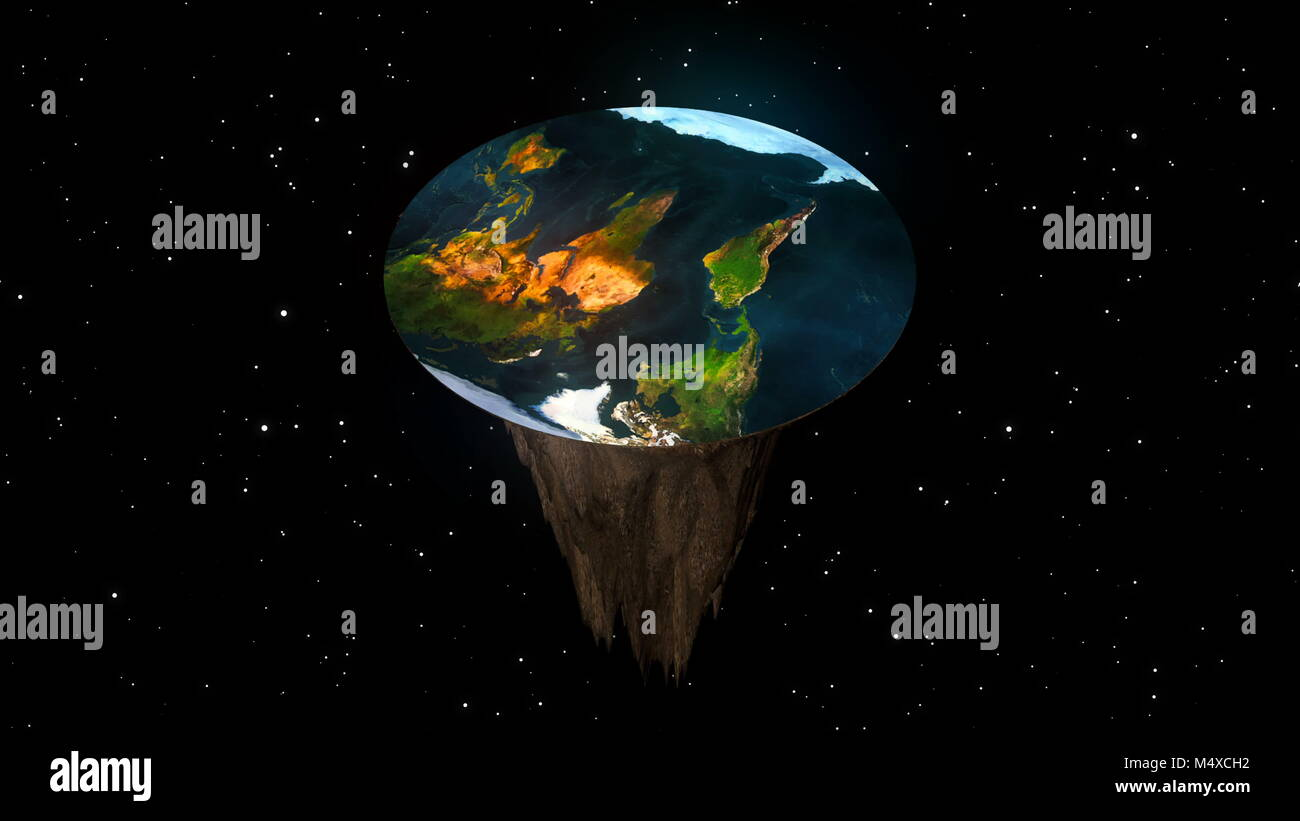 The concept of a flat planet Earth. 3d rendering Stock Photo