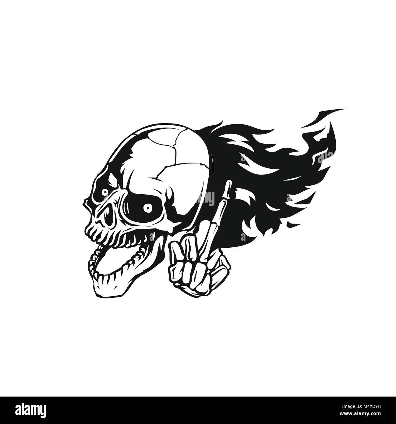 skull flying logo vector illustration. - Stock Image