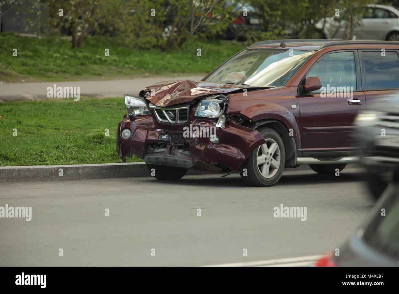 Car crash head-on collision - Stock Image