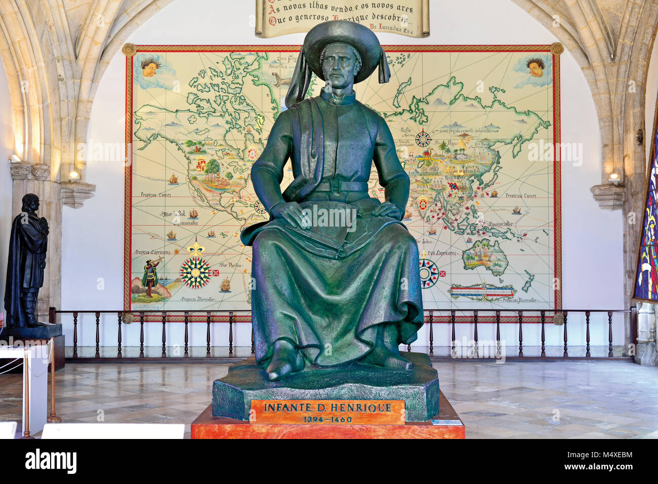 Statue of Prince Henry the Navigator in the Maritime Museum of Lisbon - Stock Image