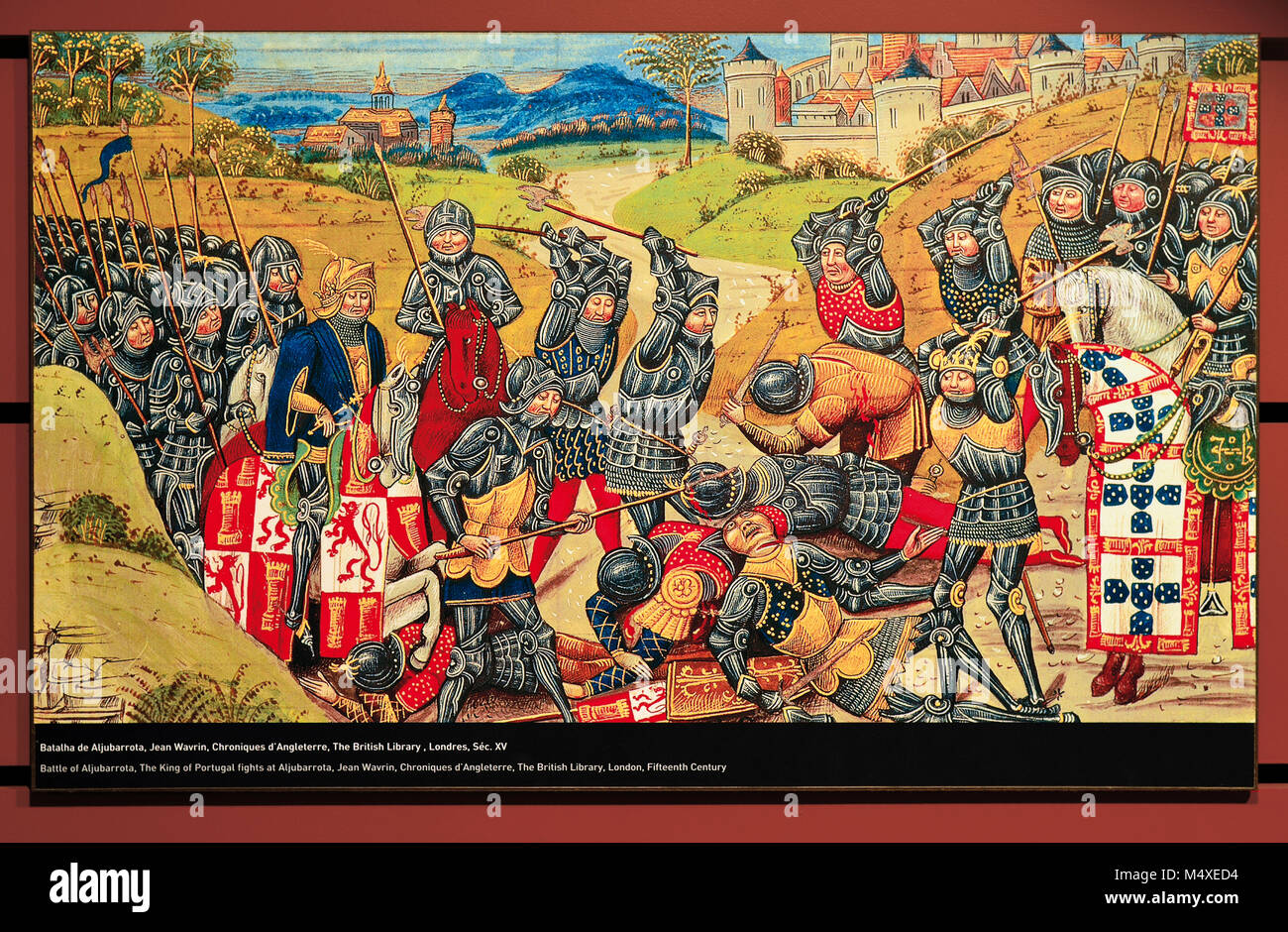 Copy of a medieval painting showing the historic Battlefield of Aljubarrota in the Interpretation Centre (CIBA) - Stock Image