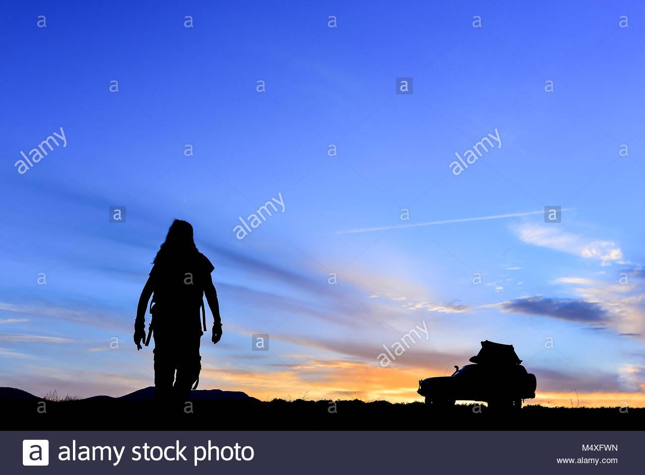 Man in pursuit of adventure - Stock Image