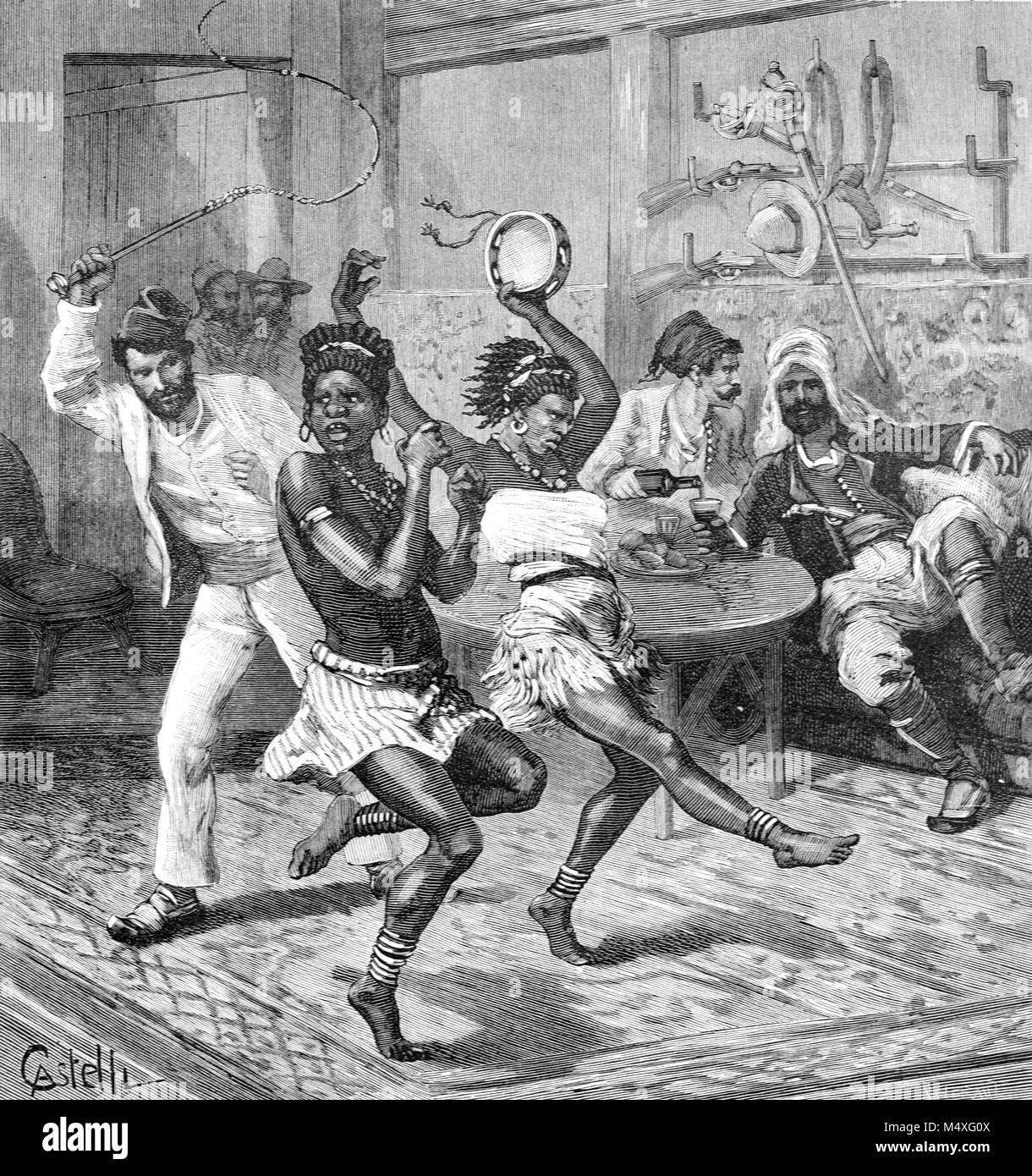 Slave Traders including Portuguese Man (with Whip) and Arab or Middle Eastern Man (Seated) or Men Whipping and Abusing - Stock Image