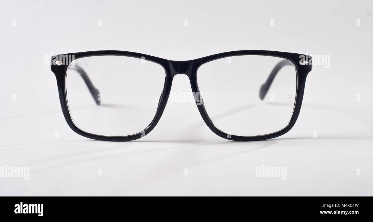 Black glasses on a white background, hipster style, plastic frames ...