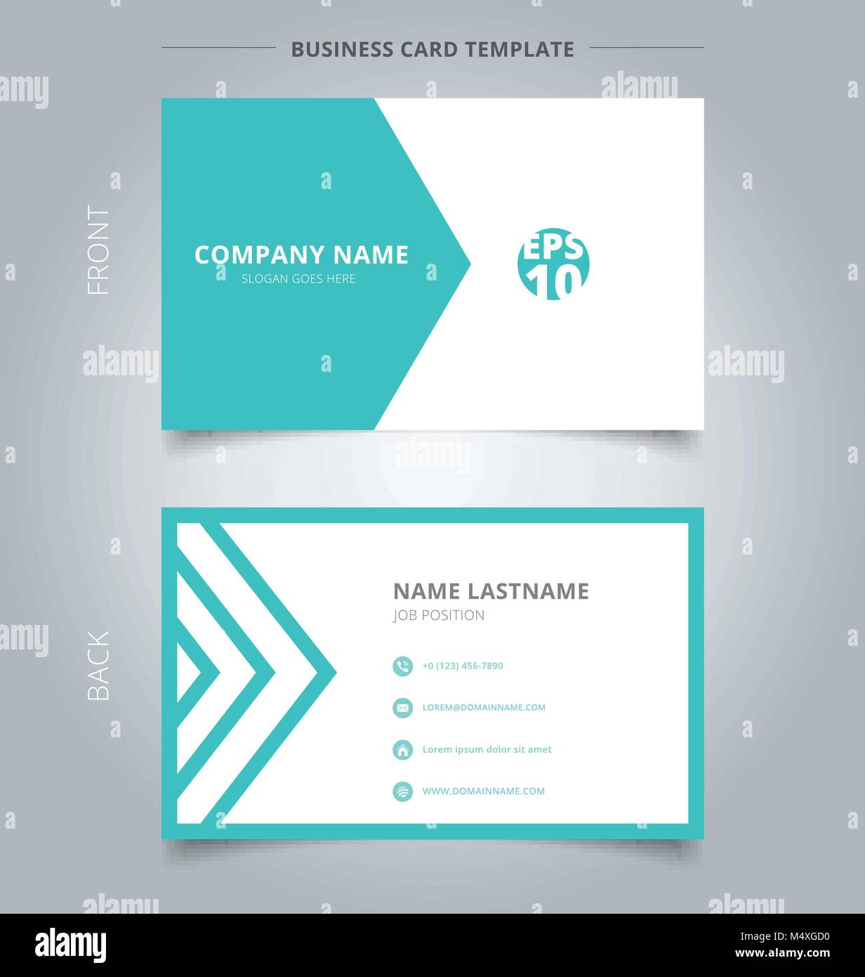Creative business card and name card template green and white Stock ...