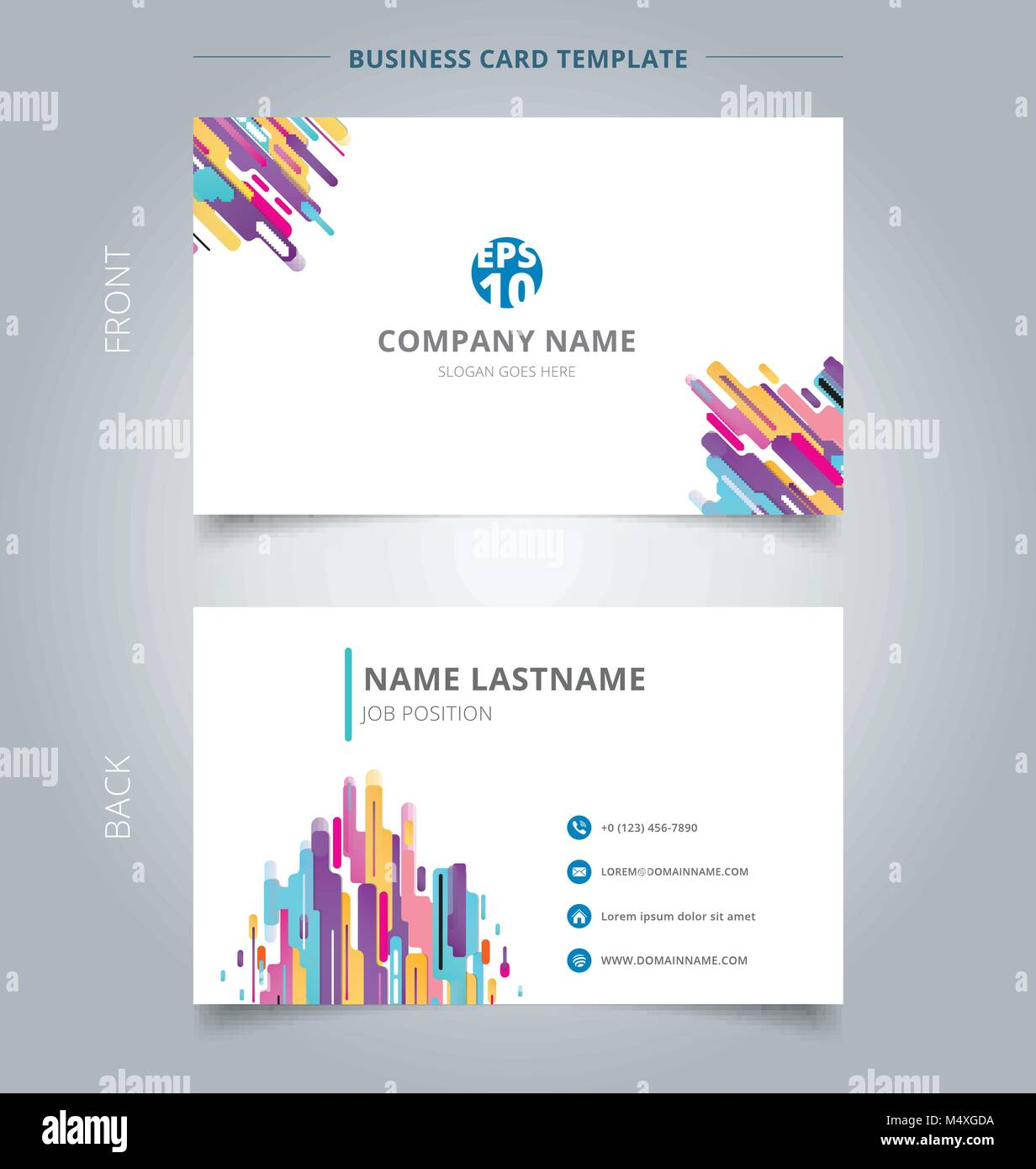 Creative business card and name card template modern style stock creative business card and name card template modern style composition made of various rounded shapes colorful abstract concept and commercial design wajeb Gallery