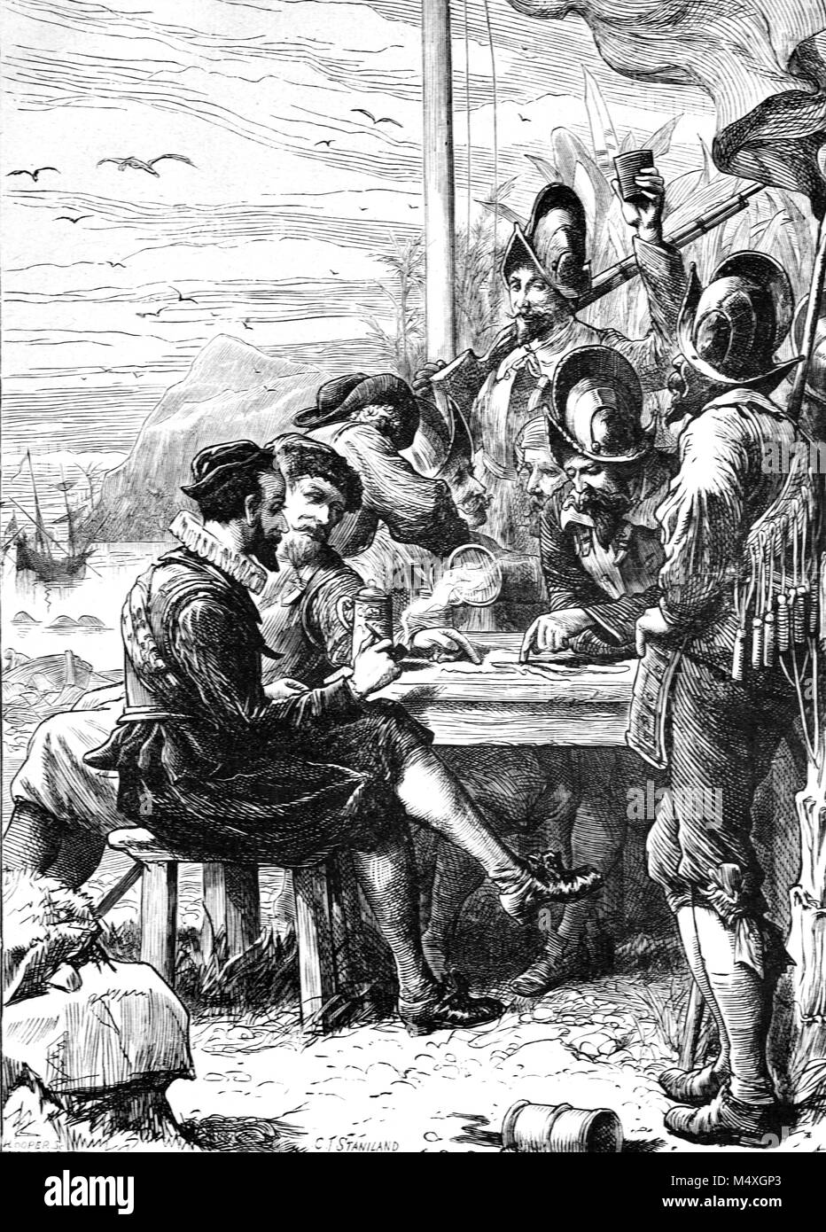 Sir Walter Raleigh (1554-1618) , English Writer, Poet, Soldier, Politician and Explorer with his Crew in the New - Stock Image