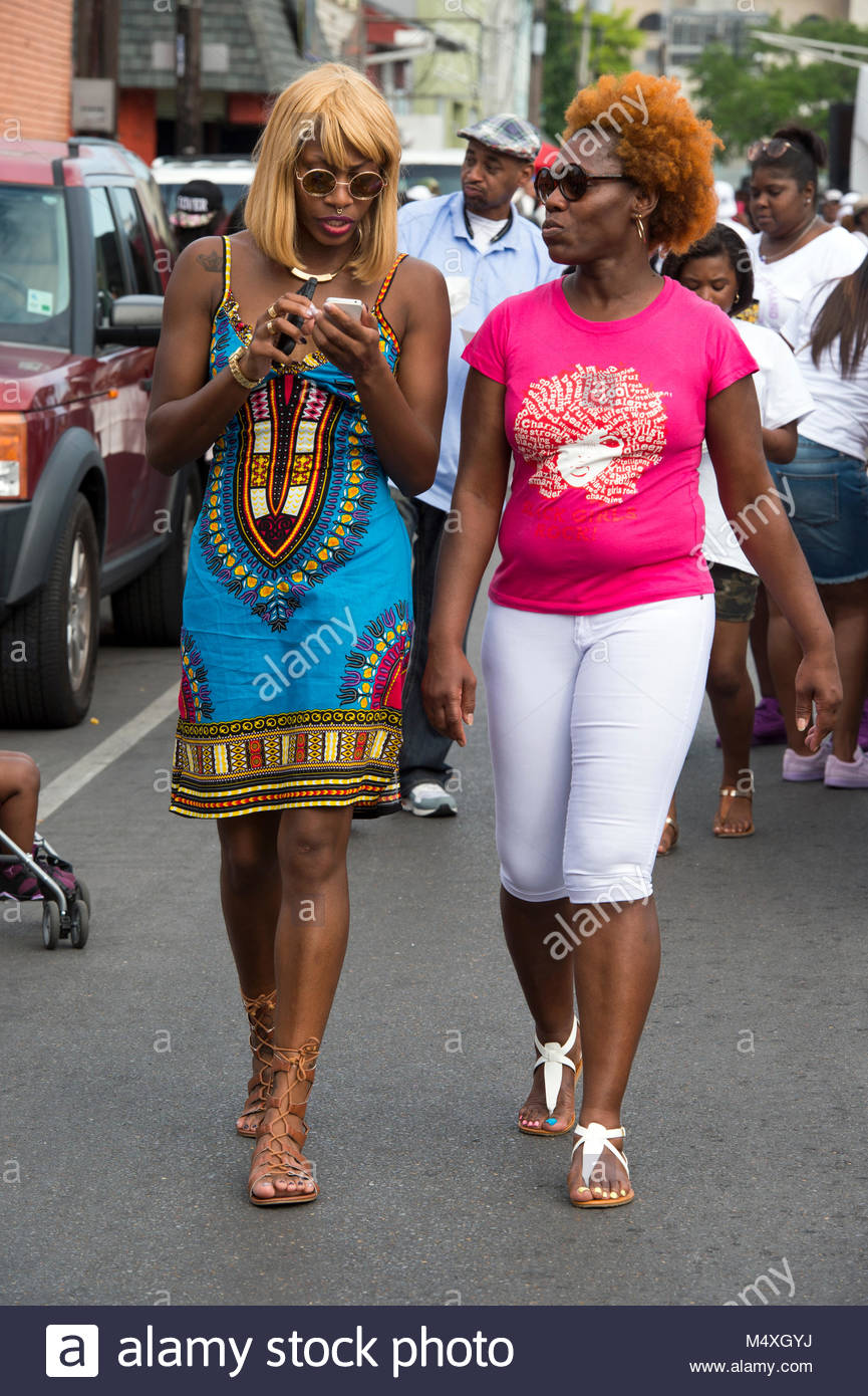 United States, Louisiana, New Orleans, a block party organised by the mardi-gras Zulu Krewe - Stock Image