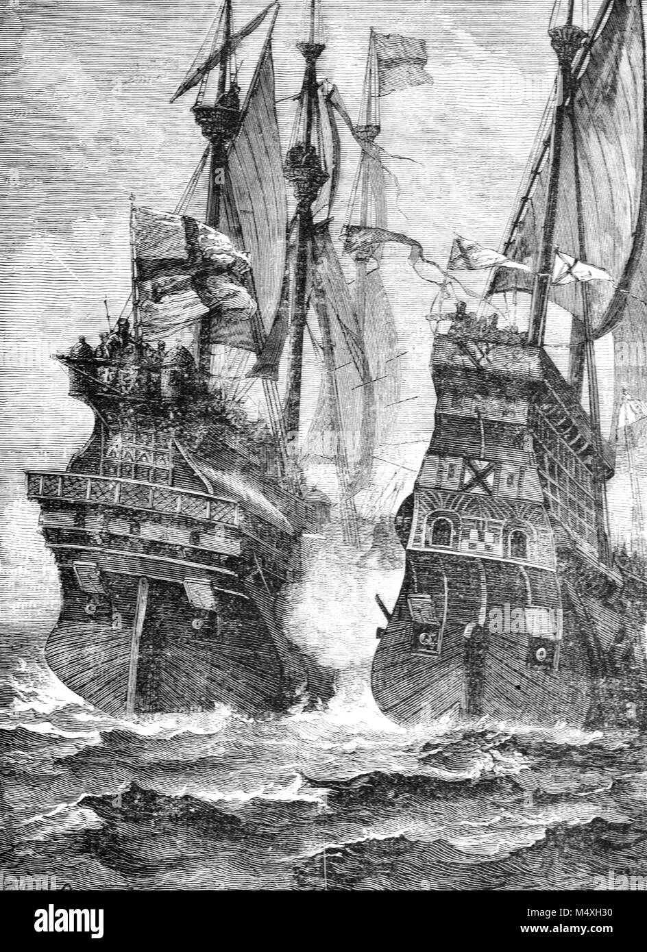 Last Sea Battle of Andrew Barton (c1466-1511), a Scottish sailor and admiral, whose ships 'The Lion' and - Stock Image