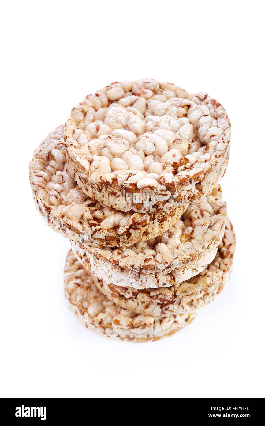 Diet ricebiscuits pile isolated on white background. Healthy food. Healthy lifestyle concept - Stock Image