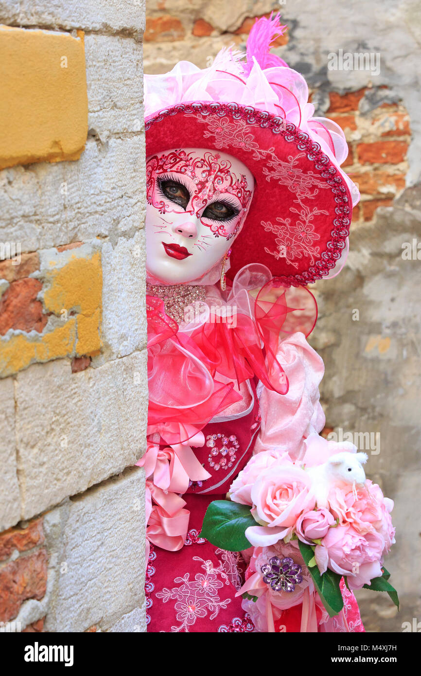A lady dressed like a female cat during the Carnival of Venice (Carnevale di Venezia) in Venice, Italy Stock Photo