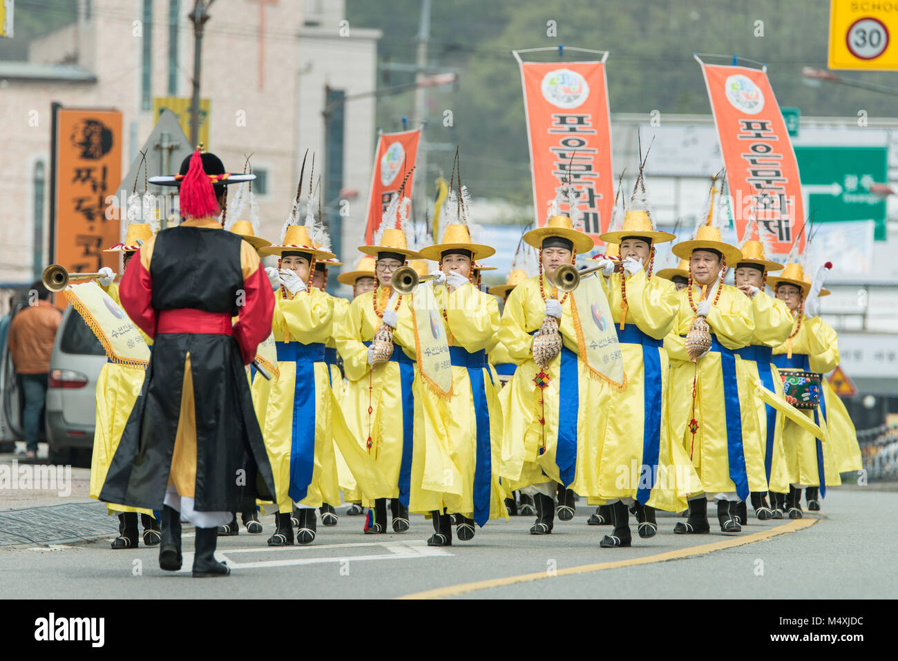 The farmers dance occurred to celebrate the harvest in Korea. Stock Photo