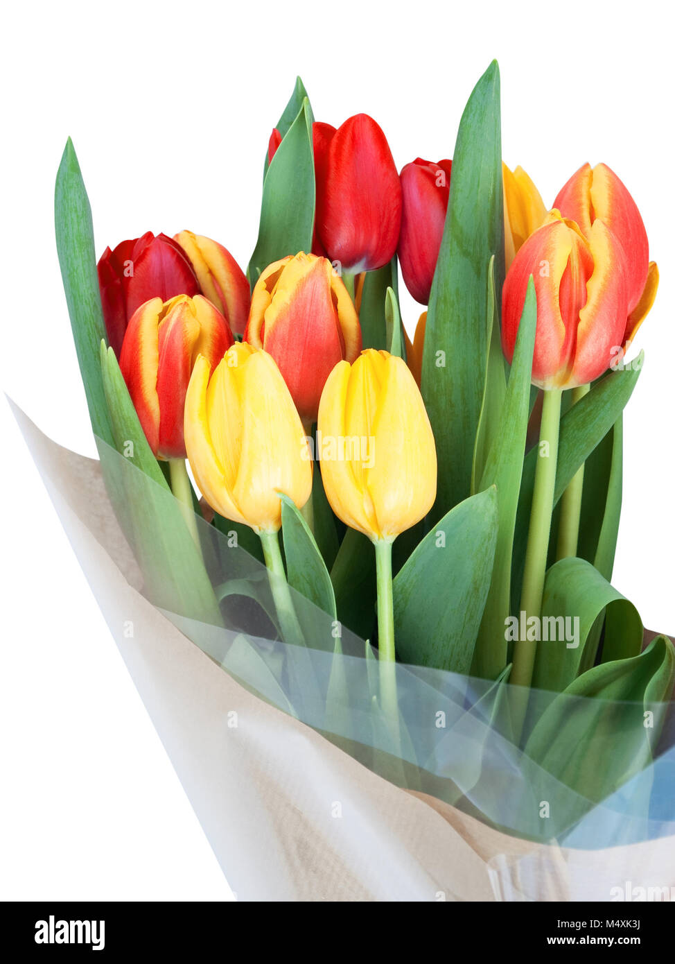 Bouquet of red and yellow tulips with green leaves wrapped in stock bouquet of red and yellow tulips with green leaves wrapped in cellophane and brown paper isolated on white mightylinksfo