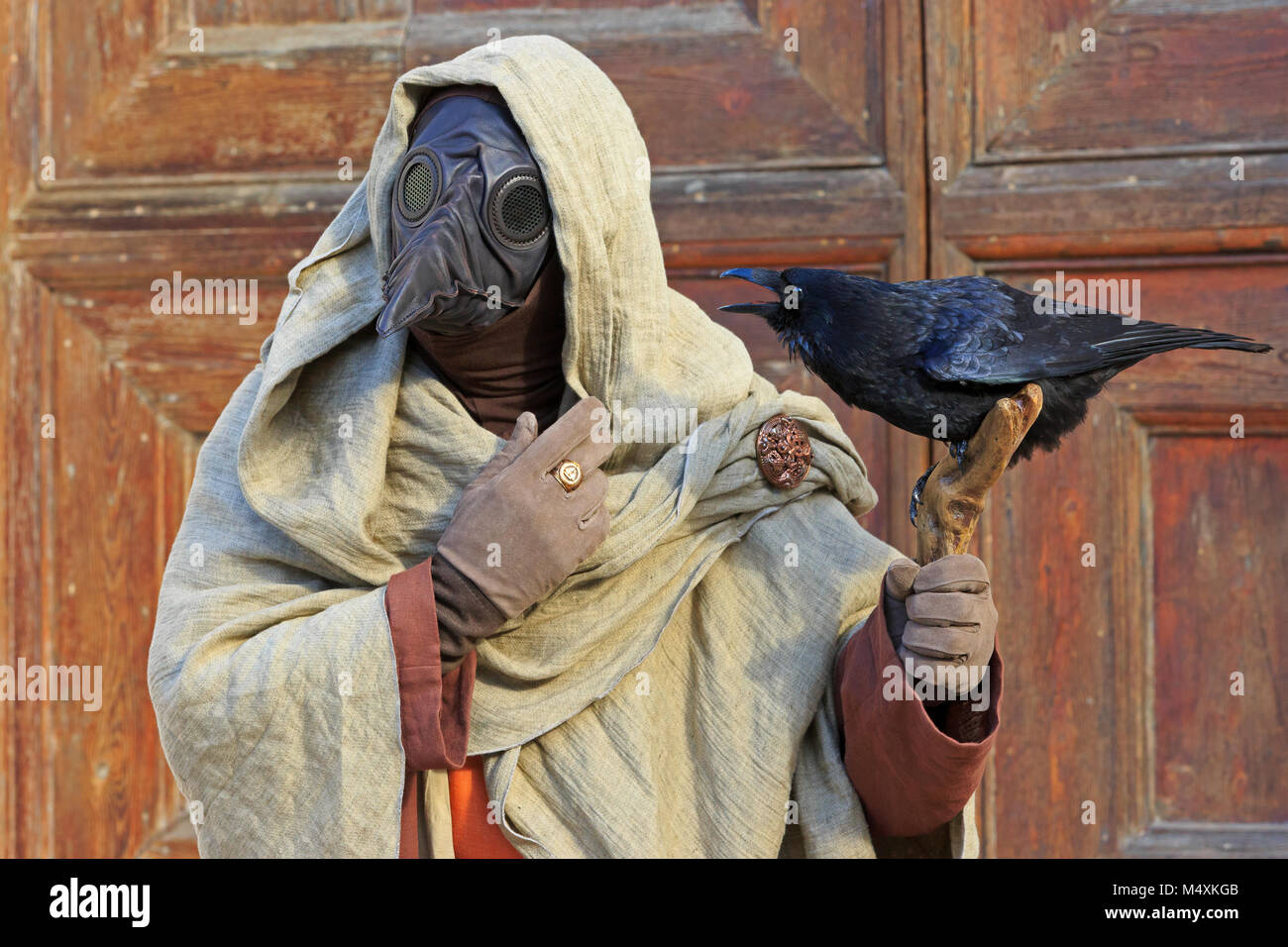 A plage doctor with a black raven during the Carnival of Venice (Carnevale di Venezia) in Venice, Italy - Stock Image